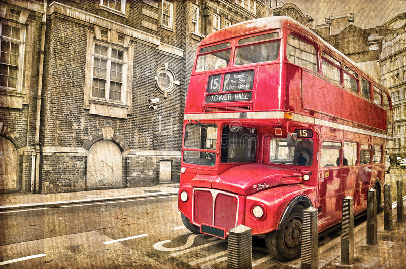 Red double decker bus, vintage sepia texture, London. UK royalty free stock image