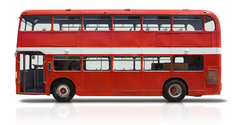 Red Double Decker Bus on White royalty free stock images
