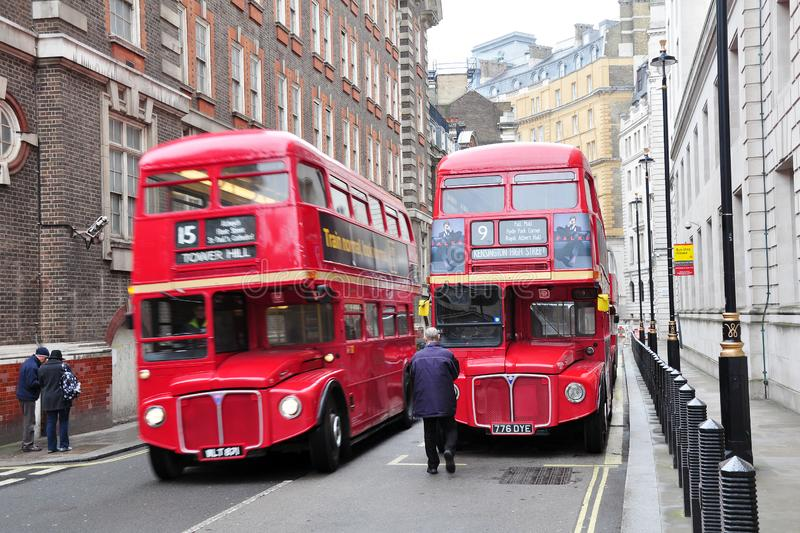 Red double decker London buses in London city, England stock images