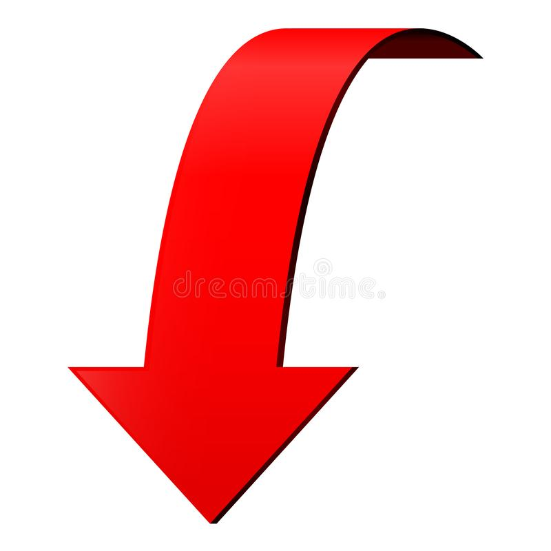 Red DOWN arrow stock illustration