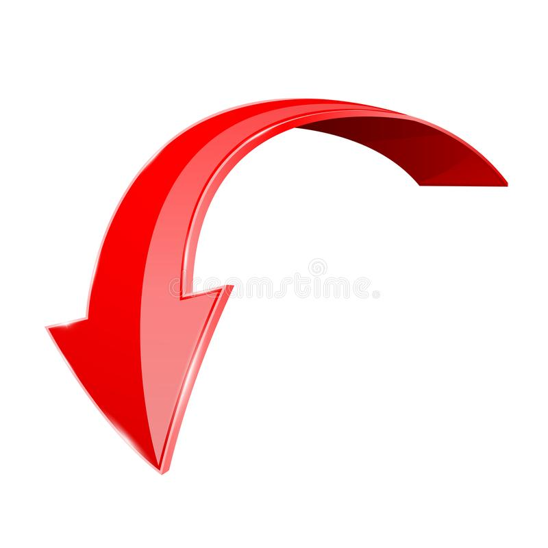 Red down 3d arrow. Shiny curved icon isolated on white background royalty free illustration