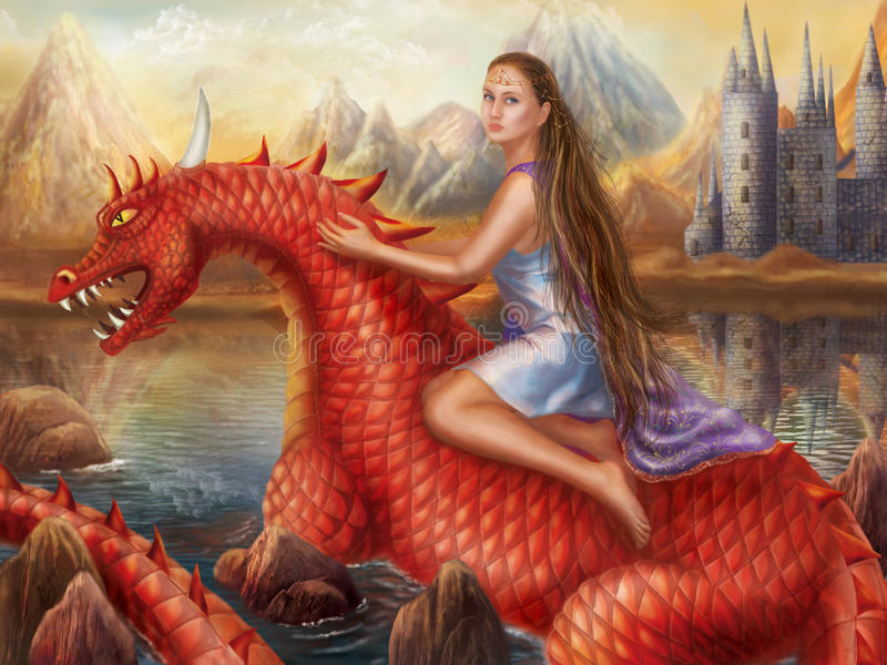 Download Fantasy Red Dragon And Beautiful Princess Float On Water. Stock Illustration - Illustration: 27121218