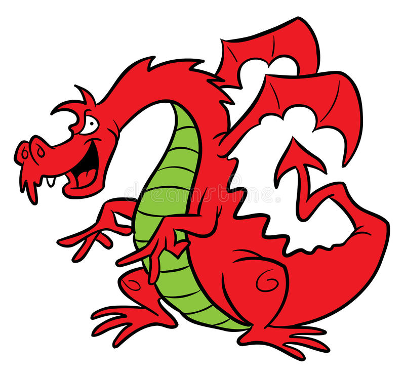 Red dragon cartoon illustration. Cartoon illustration of a red dragon with wings and pointed tail