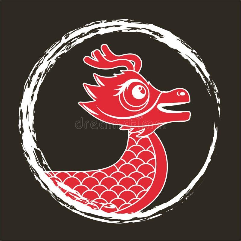 Red dragon chinese animal fantasy round frame dark background vector illustration