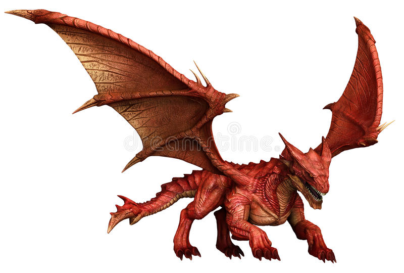 Red dragon. 3D render of a fantasy red dragon stock illustration