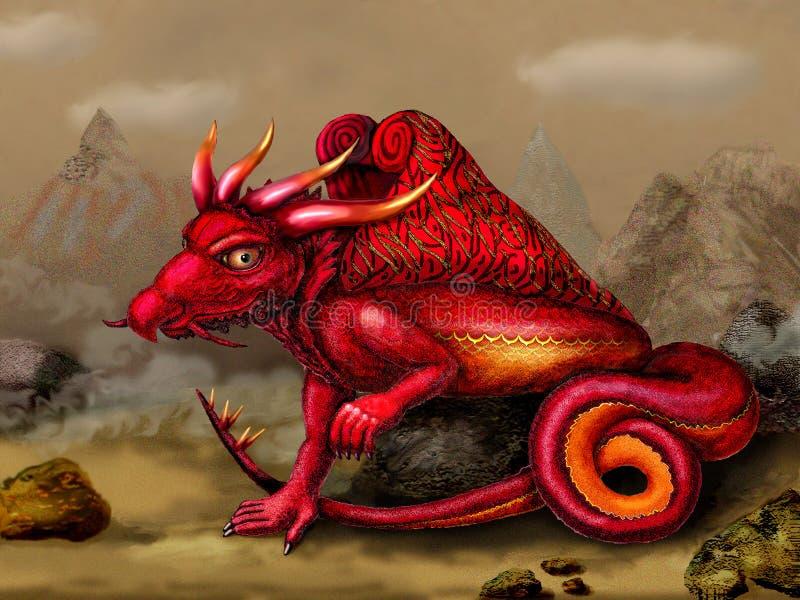 Red dragon in a desert landscape. Portrait of a mystical creature. vector illustration