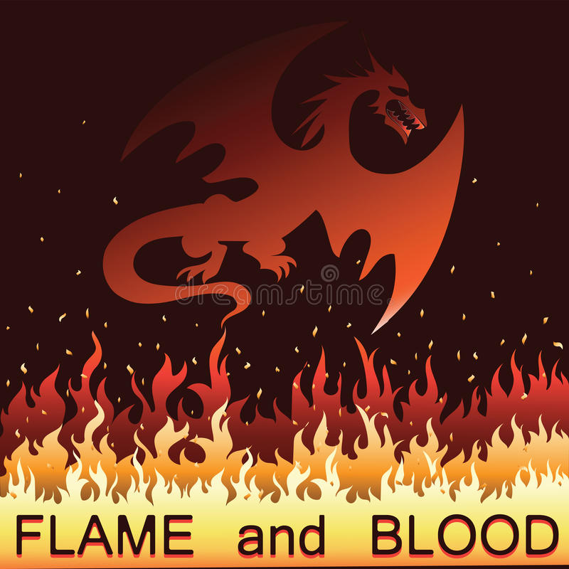 Red dragon in fire. Vector. Emblem, logo, label, sticker on a black background with an inscription Flame and blood. Eastern traditions and beliefs royalty free illustration