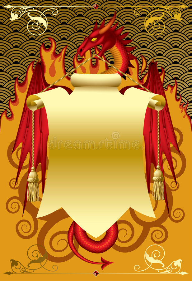 Red dragon with a gold banner vector illustration