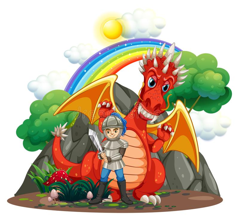 Red dragon and knight with sword vector illustration