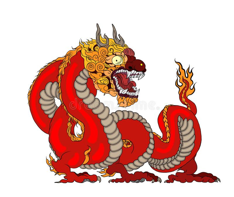 Red dragon is Magical creatures known in Chinese and Western literature.Dragon Animal tattoo design.Chinese dragon vector. vector illustration