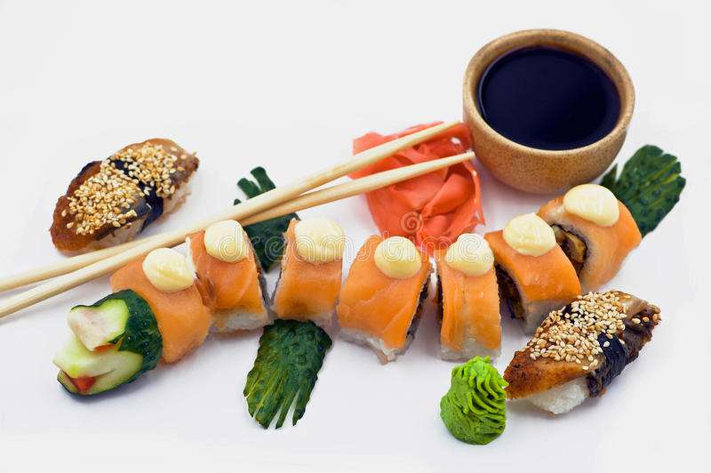 A Red Dragon Rolls Beside Sushi Eel stock photo