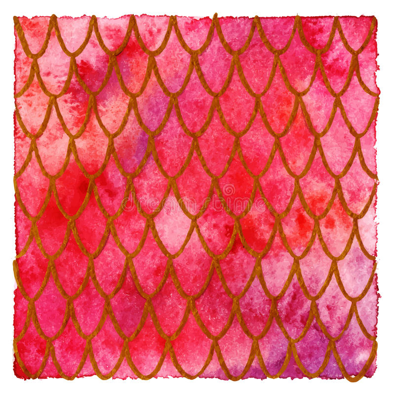 Dragon skin scales red gold ruby vector pattern texture background.  stock illustration