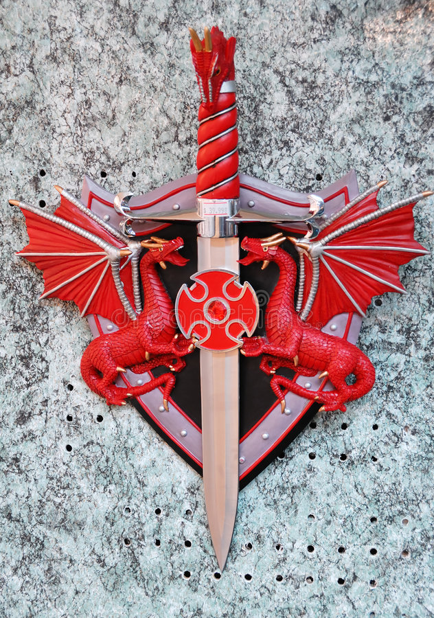 Red Dragon sword. Represents power. many warriors want to own it royalty free stock photography