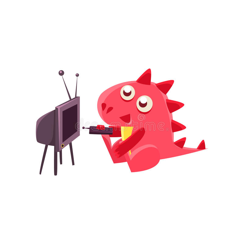 Red Dragon Watching TV Illustration royalty free illustration