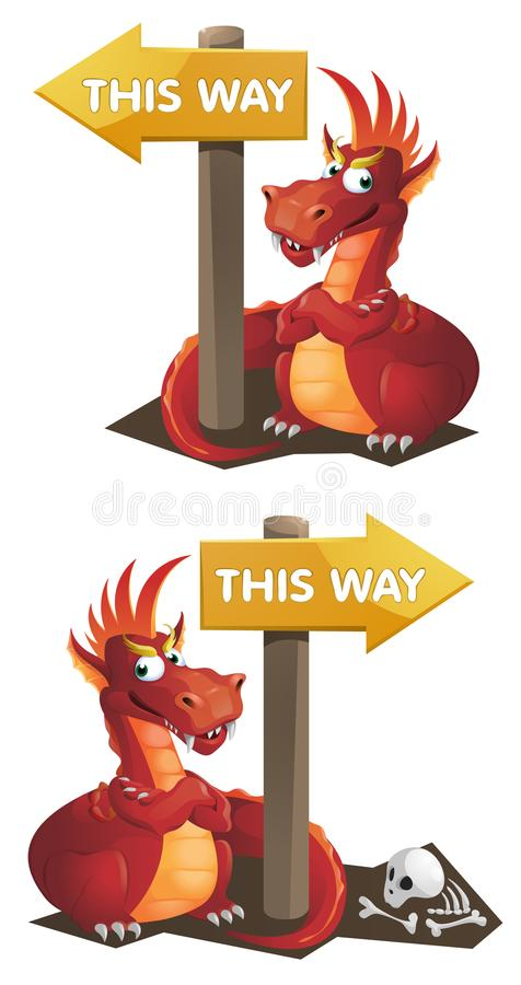 Red Dragon and This way signpost. Cartoon styled illustration. Elements is grouped for easy edit. No transparent objects stock illustration