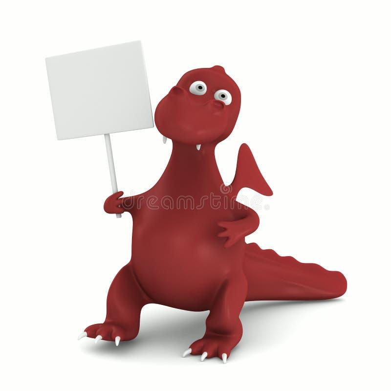 Red dragon on white vector illustration