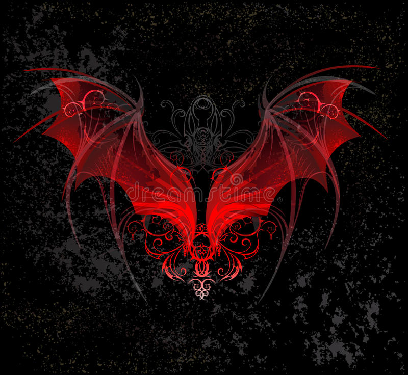 Red dragon wings stock illustration