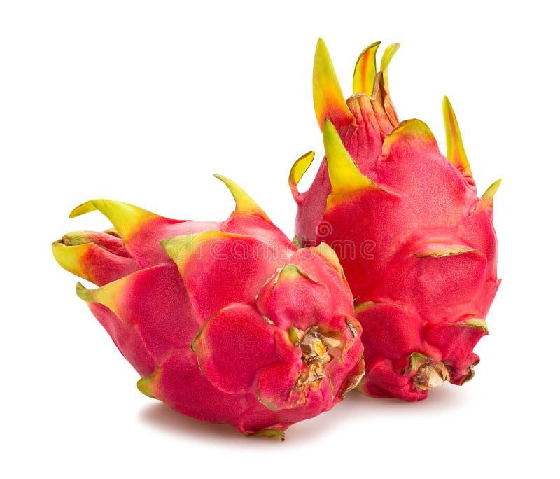 Red dragonfruit pitahaya. Path isolated on white stock images