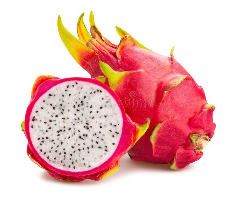 Red dragonfruit pitahaya. Sliced red dragonfruit pitahaya path isolated on white stock images