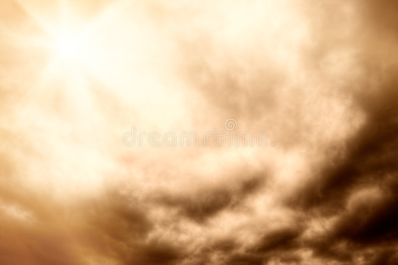 Red dramatic clouds. With sun royalty free stock image