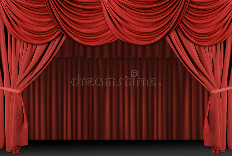 Red Draped Stage Curtains stock illustration