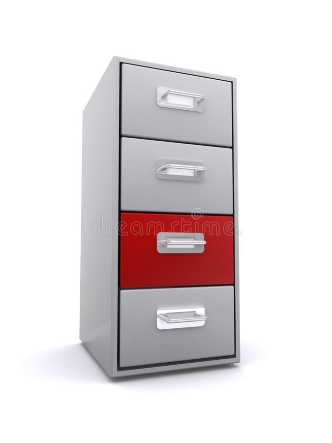 Red drawer in filing cabinet