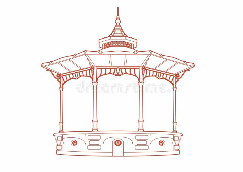 Red drawing of a bandstand stock illustration