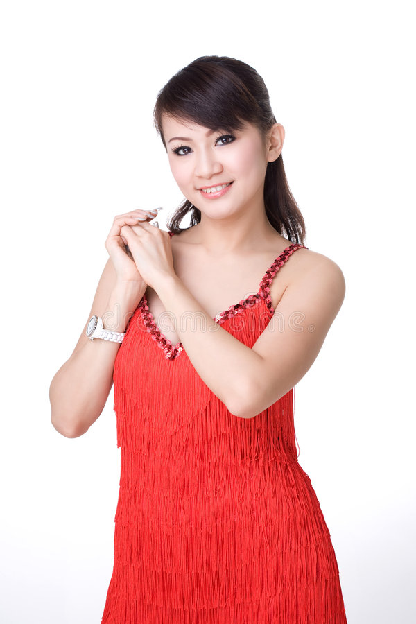 Red Dress Chinese Girl Royalty Free Stock Image