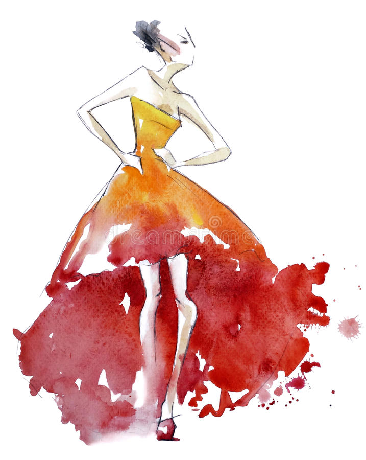 Red dress fashion illustration, watercolor painting vector illustration