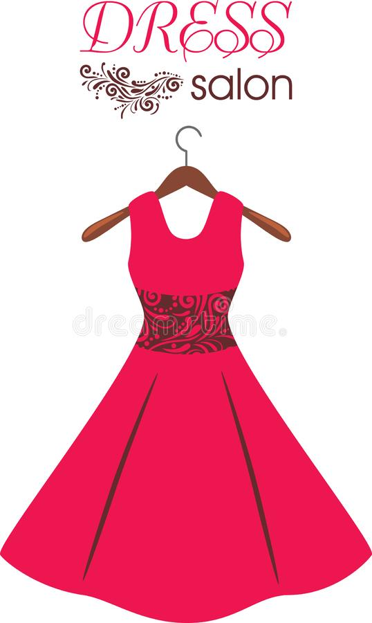 Red dress on hanger. Dress salon. Sign for fashion design stock images