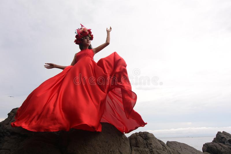 Red, Dress, Sky, Stock Photography royalty free stock image