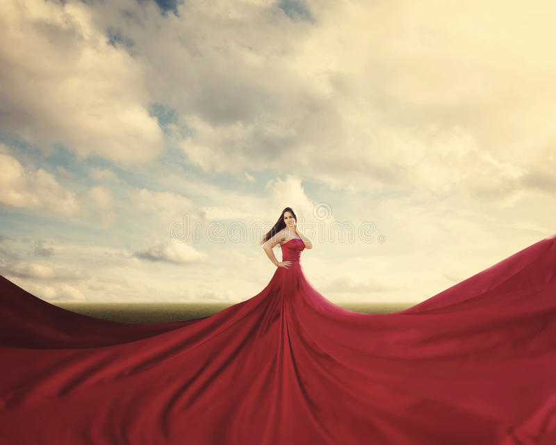 Download Red dress stock photo. Image of surreal, clouds, bright - 35956786