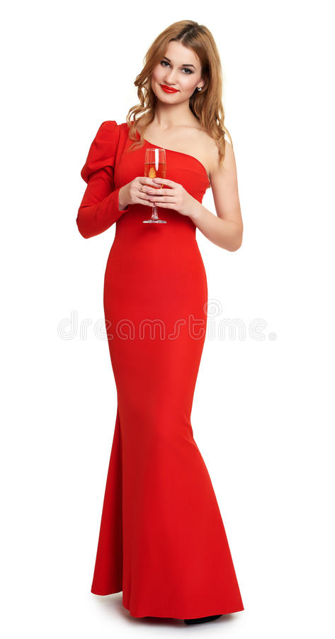 Red dressed woman with champagne glass on white royalty free stock photos