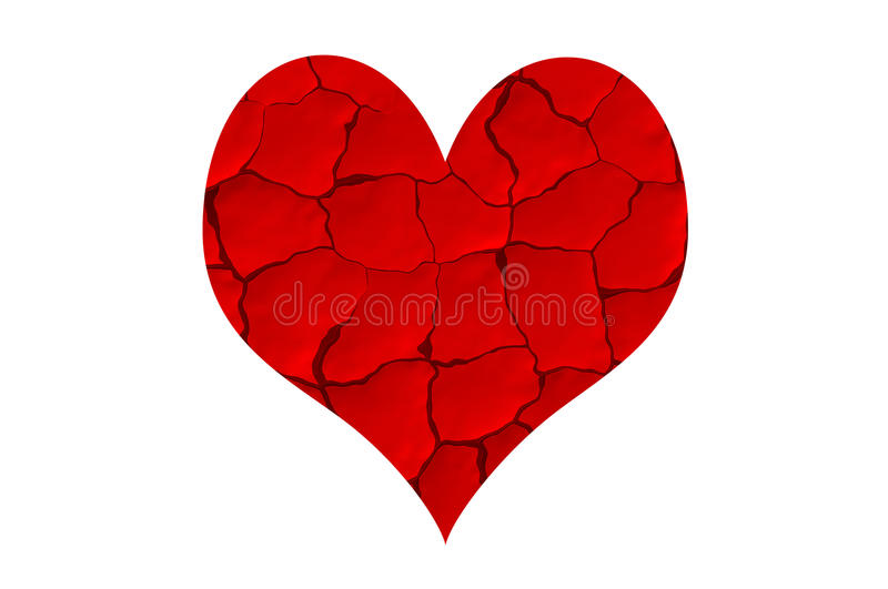 Red dried chapped heart. Dried chapped heart. Dry and crack without love vector illustration