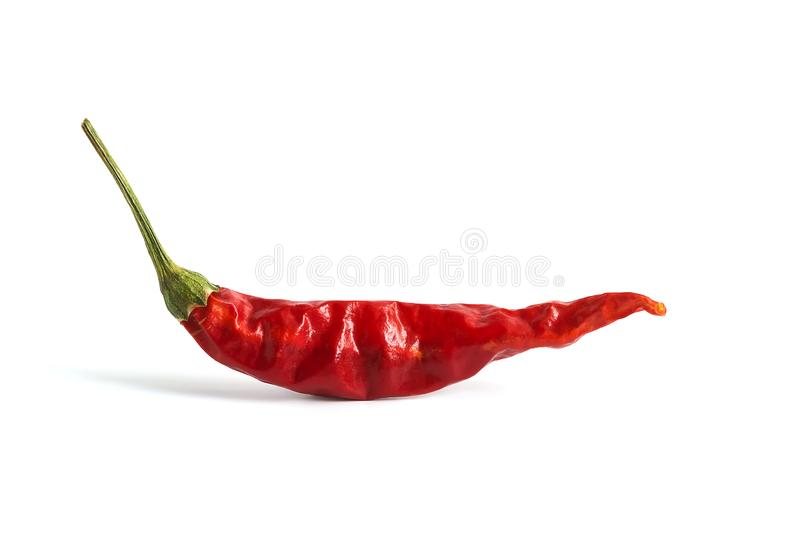 Red dried chili peppers on a white background isolated. Hot pepper stock images