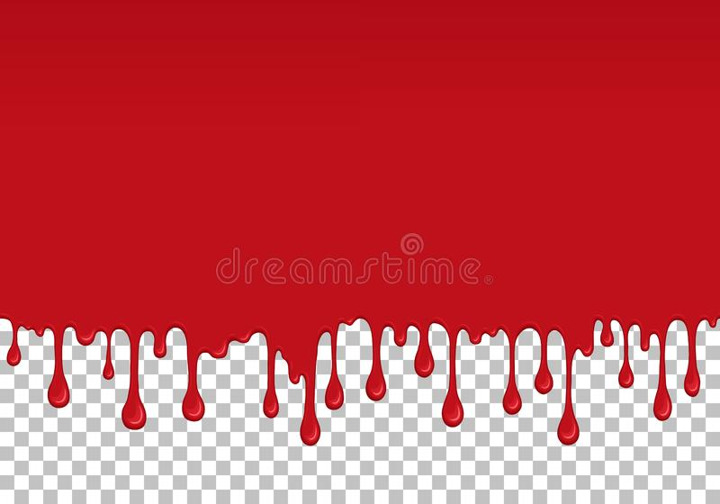Red dripping slime seamless element. Red dripping slime seamless pattern. Bloody background with copy space. Kid sensory toy vector illustration. Realistic stock illustration