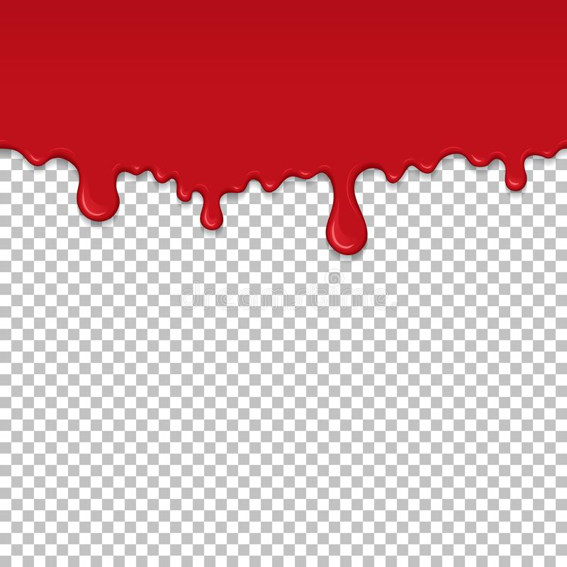 Red dripping slime seamless element. Red dripping slime seamless pattern. Bloody background with copy space. Kid sensory toy vector illustration. Realistic royalty free illustration