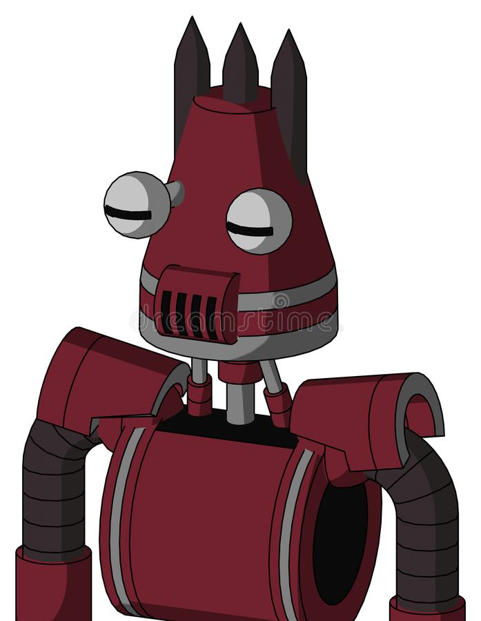 Red Droid With Cone Head And Speakers Mouth And Two Eyes And Three Dark Spikes. Portrait style Red Droid With Cone Head And Speakers Mouth And Two Eyes And Three stock illustration