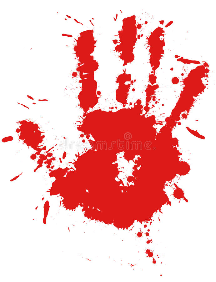 Free Red Drop Ink Splatter Hand Print Royalty Free Stock Photos - 21291638