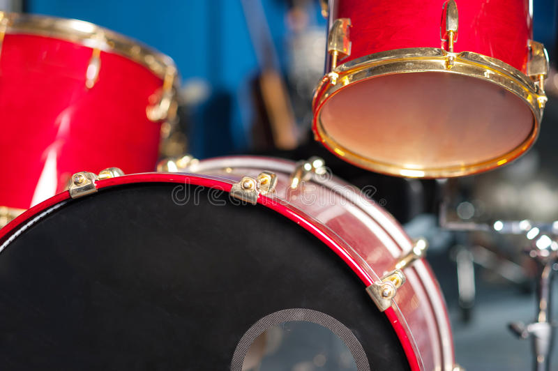 The Red Drum Set Inside Studio Stock Photography