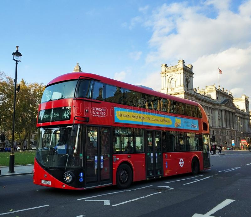 Red duble decker bus in London stock photo
