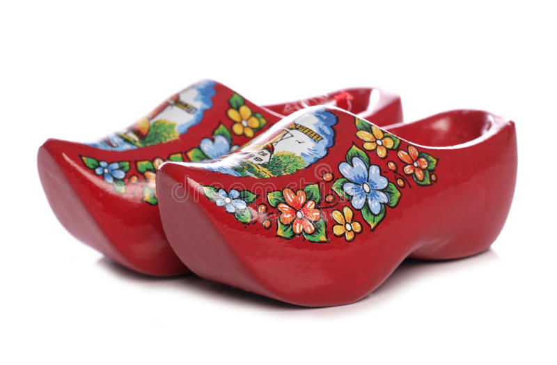 Red dutch clogs stock photo