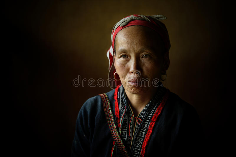 Red Dzao indigenous woman in Sapa. Red Dzao tribes is one of the minority tribes in Sapa, Vietnam. 2012 stock photo