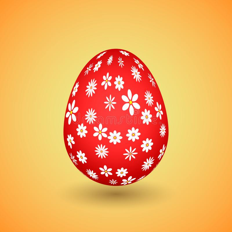 Red Easter Egg with Flowers stock photos