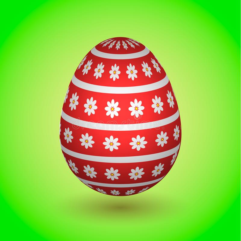 Red Easter Egg with Flowers and stripes stock photography