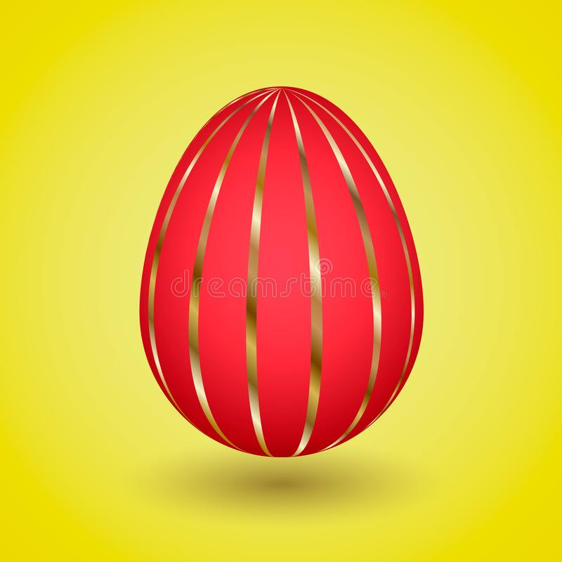 Red Easter Egg with gold stripes stock images