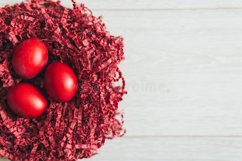 Red Easter eggs background stock images
