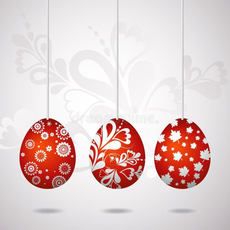 Red easter eggs, vector stock illustration