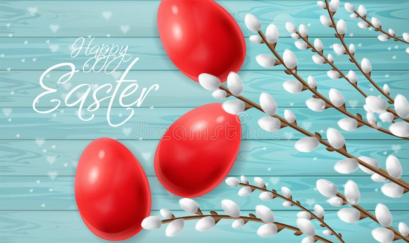 Red Easter eggs Vector realistic. Happy Holiday card with colored eggs and willow branches. Bright Blue backgrounds royalty free illustration