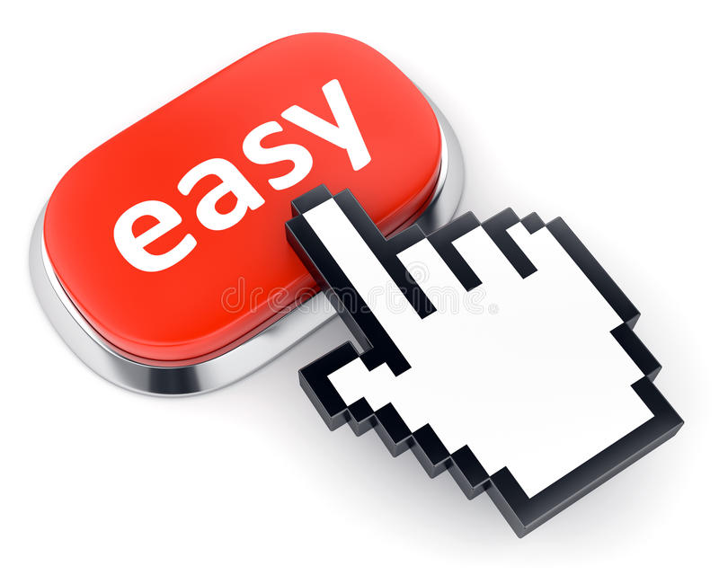 Red Easy button and hand cursor royalty free illustration
